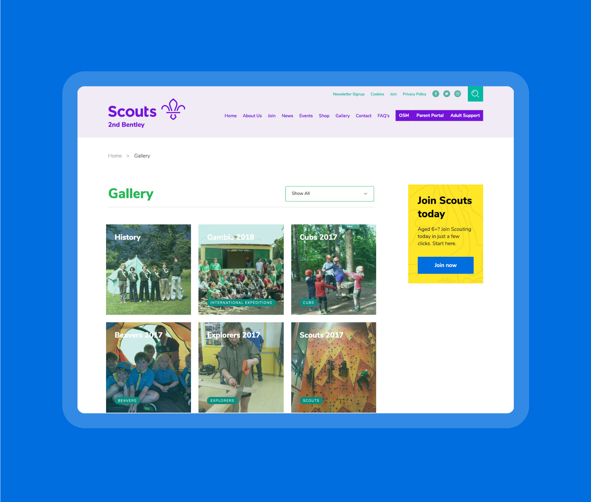 Galleries can be used to keep track of all of the Summer activities your Scouts or Guides get involved in!