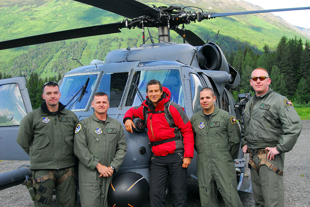 Bear Grylls before heading out to Spencer Glacier to film Man vs. Wild (Born Survivor).