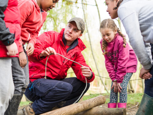 Scout Leader outdoors with Young People