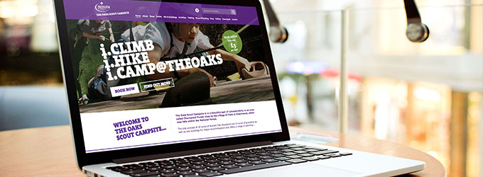 A website for The Oaks Scout Campsite, Leicestershire